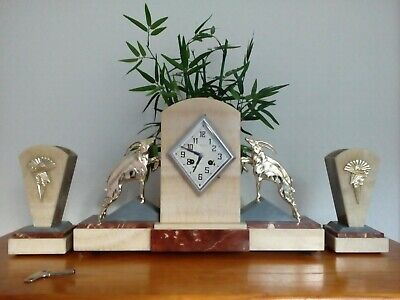 Antique Large French Art Deco Clock Ibex Onyx Slate With Garniture Circa 1900