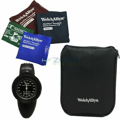 Welch Allyn Tycos DS58 Blood Pressure w Family Practice 4 Cuff Kit & Zipper Case