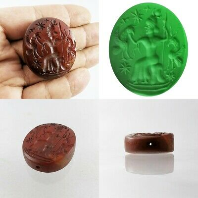 Old Sassanian Bead God Birds Carnelian Agate Intaglio for Cameo / Pendant #311