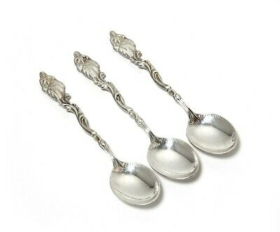 """Silver coffee spoons, 3 pcs. Design """"Lady with fan"""". Sweden, 1949."""