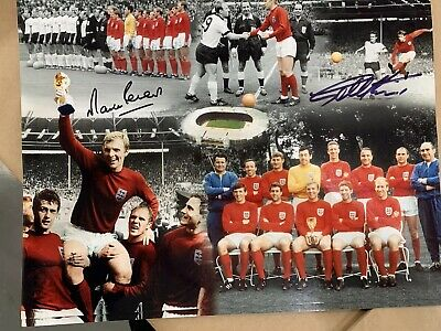 A2 Glossy signed by England 66 scorers SIR GEOFF HURST AND MARTIN PETERS £25