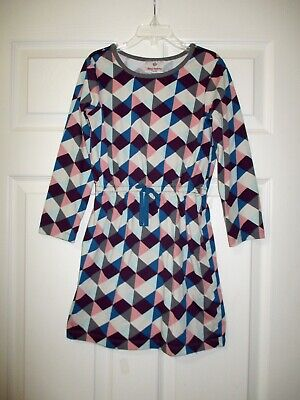 Hanna Andersson 120 Dress Gray Pink Blue Geometric Boutique 6 7 8 Triangles