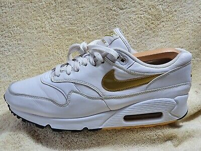 Nike Air Max 90/1 mens Comfort trainers Leather White/Gold UK 8 EUR 42.5