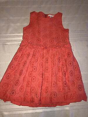 Janie and Jack Size 5 Watercolor Poppy Pink Coral Eyelet Sleeveless Dress