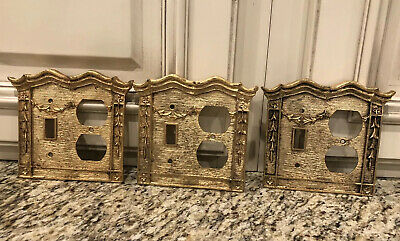3 Heavy Cast Metal Brass Light Switch Outlet Receptacle Cover Plates