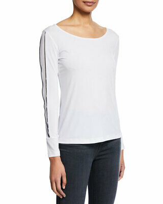 NWT Anatomie Naomi Lux White Jersey top with Piping NEW XS Small Medium