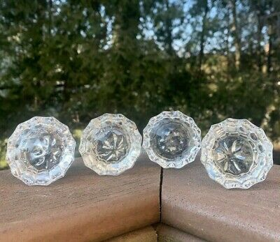 Crystal Glass Door Handles Vintage 4 Singles 12 Point Antiques Hardware Knobs