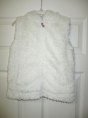 Mini Boden 5-6 Furry Vest Lined Cream Off White Faux Fur Floral Zip Up Hooded