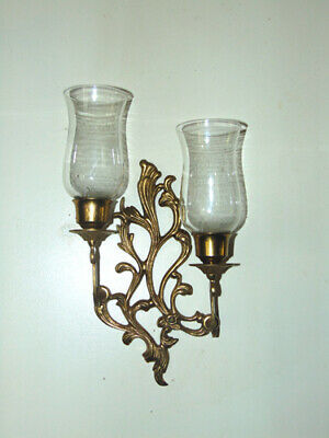 Wall Candle Sconce Solid Brass Ornate w/ Glass Candle Cups