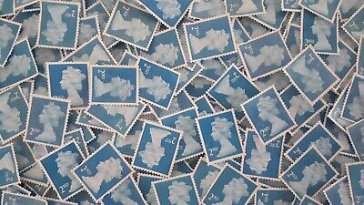 Superb GB 100 Unfranked 2nd Second Class Blue Stamps Off Paper Kiloware £61
