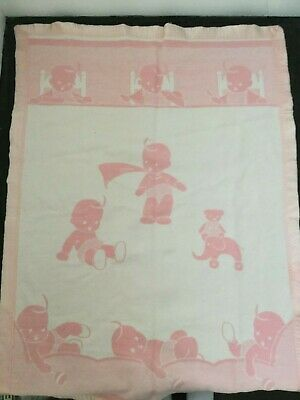 Vintage 50s Baby Blanket Pink White Thermal Satin Trim RARE Reverse Woven