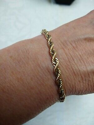 "14k Solid Gold Twisted Rope 7"" Bracelet 14kt yellow gold 9.78 grams"