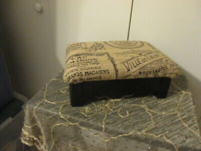 Vintage SHABBY PARIS APT Foot REST/STOOL Wood W PADDED FABRIC SEAT BLACK/TAN