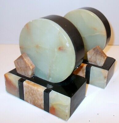 Amazing ART DECO Girandoles Book Ends Alabaster Marble Onyx FRENCH CHIC