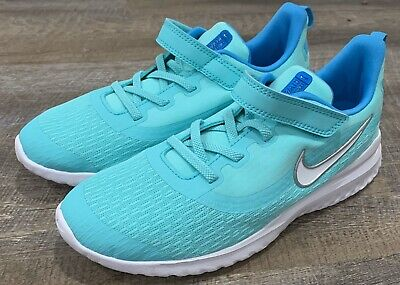 NIKE New Rival 2 PS Running Shoes Turquoise Blue  White Girls Size 3 AT5610 300