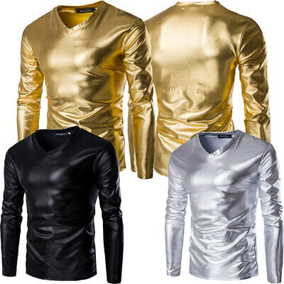 Mens Slim Fit V Neck Leather Metallic Shiny Long Sleeve Pullover T-shirt Top Tee