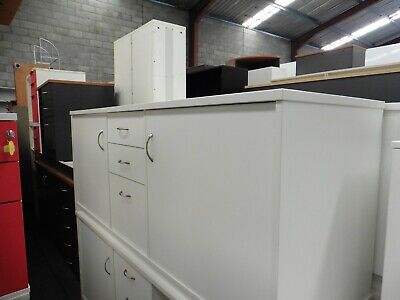 Office 1800Mm White Credenza With Drawers Brisbane