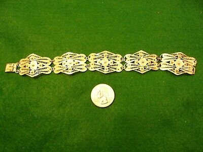 Very Nice Vtg Antique Ladies Sterling Silver 5 Panel Filigree Art Deco Bracelet