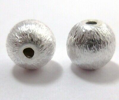 2 Pcs 28Mm Brushed Ball Sterling Silver Plated