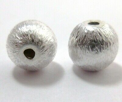 10 Pcs 12Mm Brushed Ball Sterling Silver Plated