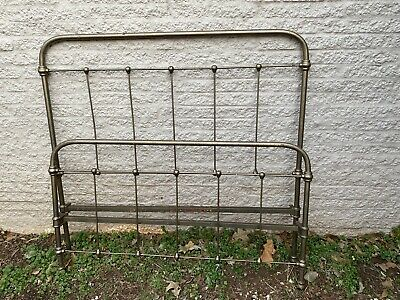 Antique Victorian Cast Iron Full Sized Bed Frame No Rails