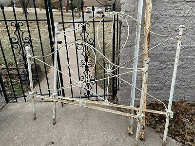 Antique Victorian Cast Iron Full Sized Bed With Rails