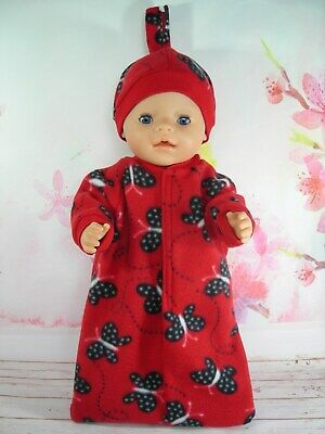 """Dolls clothes for 17"""" Baby Born doll~RED~BLACK BUTTERFLIES SLEEPING BAG~HAT SET"""