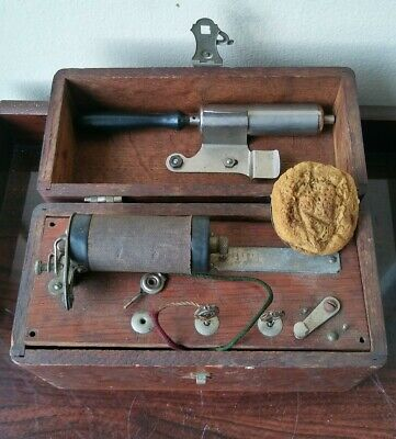 Antique Quack Medical Device Instrument w Original Wood Box Unusual Collectible