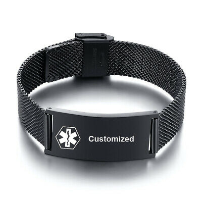 Stainless Steel Mesh Medical Alert ID Bracelet Wristband Personalized Engraving