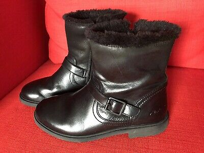 Girls Clarks Mid Boots Size 3, Black Width G