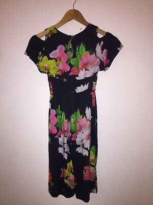 Genuine Ted Baker Playsuit Jumpsuit Girls Age 8 Navy Floral Culotte Wide Leg