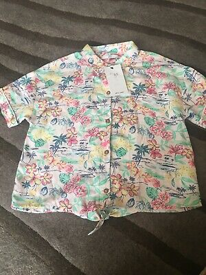 M&S Girls floral blouse age 10-11 Yrs New Linen Summer Holiday