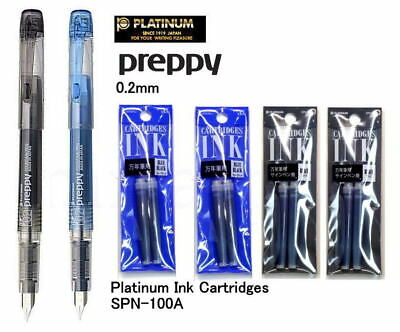 Platinum Fountain Pen Preppy Fine 0.2mm Black Ink Blueblack Ink /  ink refill