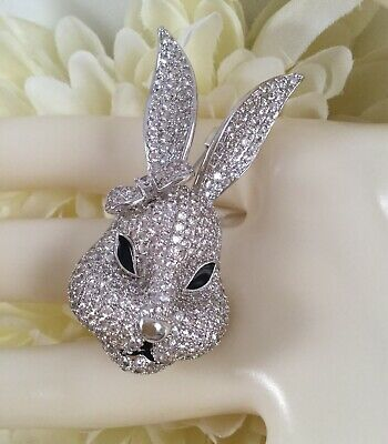 Vintage Large Runway Statement Brooch Pin Easter Hare Rabbit Silver Pink White