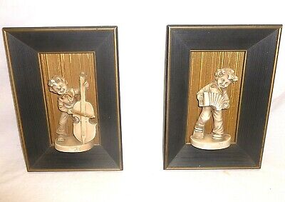 Vtg Shadow Box Wall Art Plaques Hangings Mid Century Pair 3d Boy Music Musician