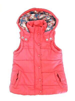 Monsoon Girls Gillet, body warmer. Girls, age 3-4 years. Red with floral lining