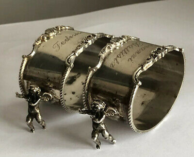 Antique Continental Solid Silver 800 Pair Of Figural Cherub Napkin Rings @ 1900
