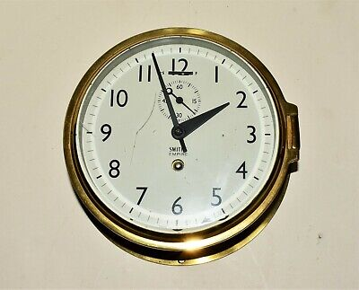 Smiths Empire Brass Bulkhead Ship clock, WORKING, keeps good time, with a key