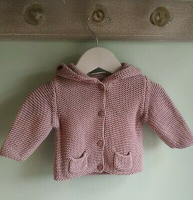Baby Girls Pretty Dusky pink Knitted Hooded Cardigan By Next Size 0-3 Months