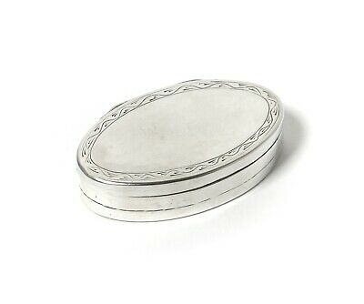 Silver oval box (pill box).  Sweden, year 1809.