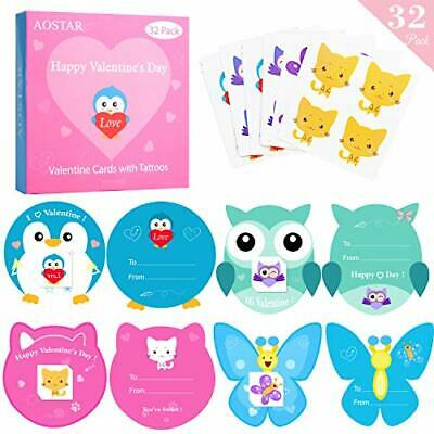 AOSTAR Valentines Cards for Kids 32 Pack - Temporary Tattoos and Envelopes -