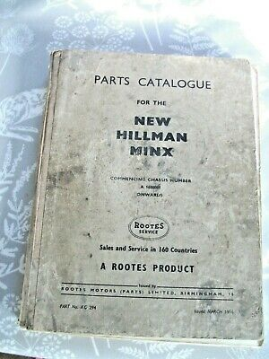 Parts Catalogue for the NEW HILLMAN MINX  1956