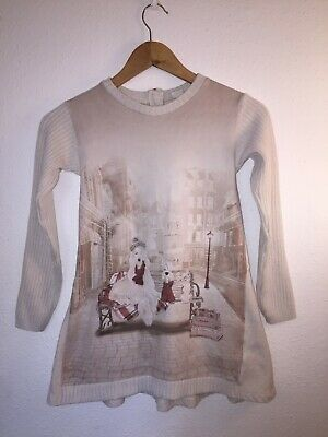 Mayoral Girls Dress age 9 Cream Winter Christmas Sparkly Dogs