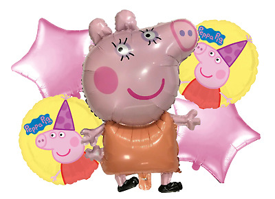 "5Pcs peppa pig balloon 1 large Peppa 1 large George 3 18/"" Round balloons"