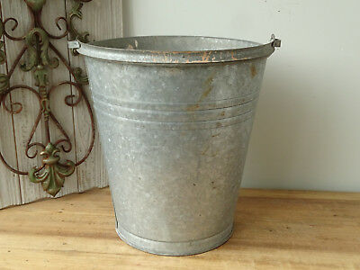 T4576 Old Zinc Bucket Zinc Plated Zinc Bucket Close