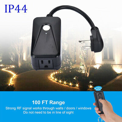 Outdoor LED Light Wireless Remote Control Wall Switch Outlet Plug In Waterproof