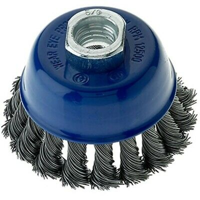 5 Pack - 2-3/4″ x 5/8″-11 Carbon Steel Wire Knot Cup Brush for Angle Grinders