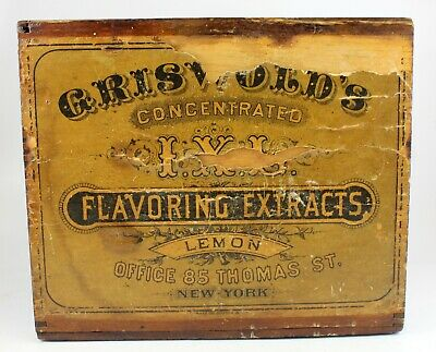 antique GRISWOLD'S Concentrated LEMON Flavoring Extract WOODEN BOX w/ LID early