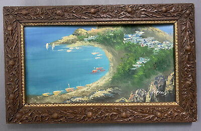 Antique French Impressionist Oil On Board Painting In Gold Gilt Frame, Signed