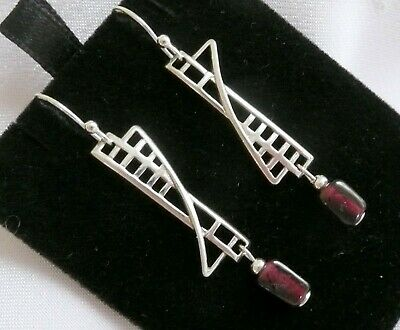 Mackintosh Scottish ARTS & CRAFTS Sterling Silver & Garnet Earrings